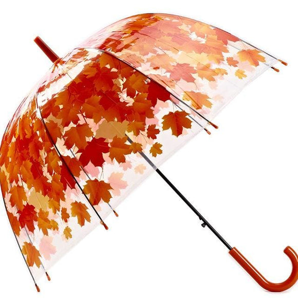 Clear Transparent Bubble Umbrella - Red