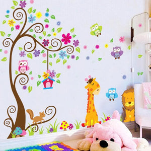 Colorful Tree and Giraffe Vinyl Wall Decal