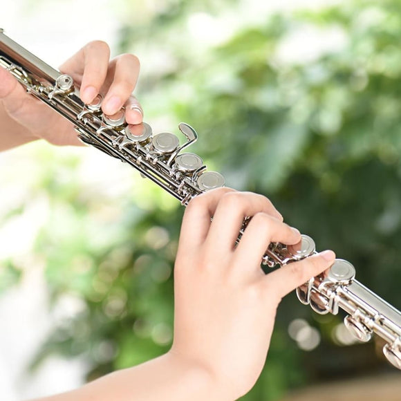 Concert Flute Cupronickel Silver Plated 16 Holes C Key Musical Instrument