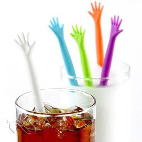 Creative Helping Hand Drink Stirrer - 5 Pieces/set