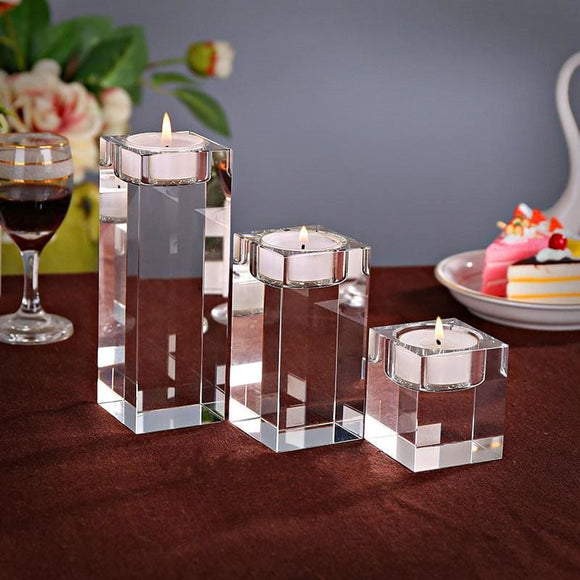 Crystal Cube Cup Candle Stand Holder X 3 Piece