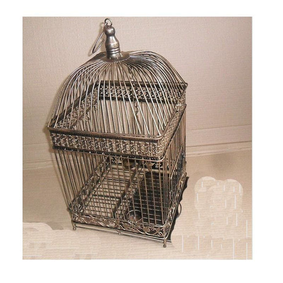 Decorative Wire Bird Cage - Black / w19cm H35CM