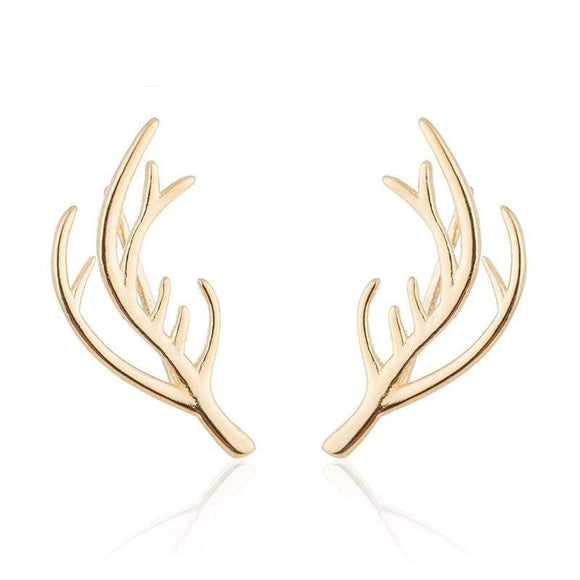 Deer Antler Earrings - Gold-Color