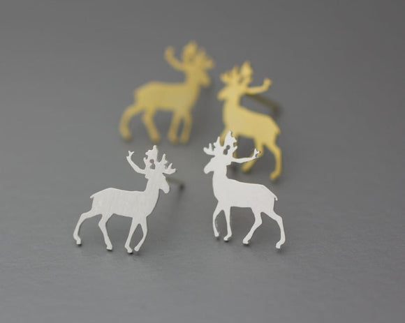 Deer Stud Earrings - Gold-Color