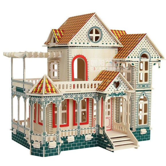 DIY 3D Wooden Miniature Villa Puzzle House