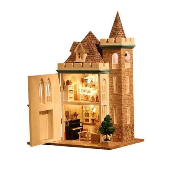 Diy Miniature Castle Home Doll House Kit With Furniture