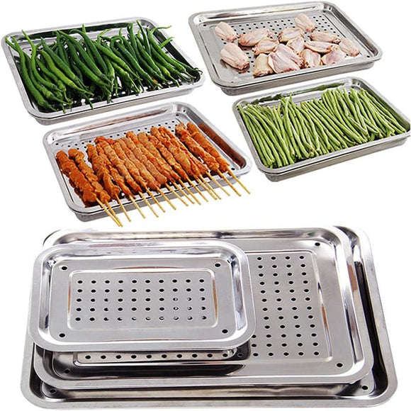 Double Layer Stainless Steel Tray - S