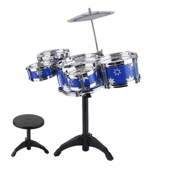 Drum Cymbal and Stool 5 Piece Set - Blue / China
