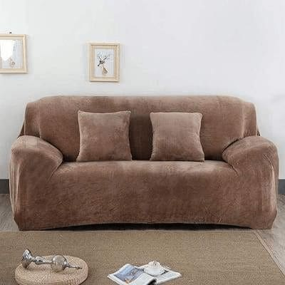 Elastic Couch Thick Plush Slipcover With Arm - Camel / Single 75X145Cm