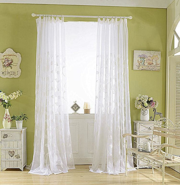 Embroider Leaf Translucent Curtain