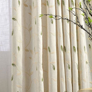 Embroider Leaves Linen Curtain - W100cm x H270cm / HOOKS