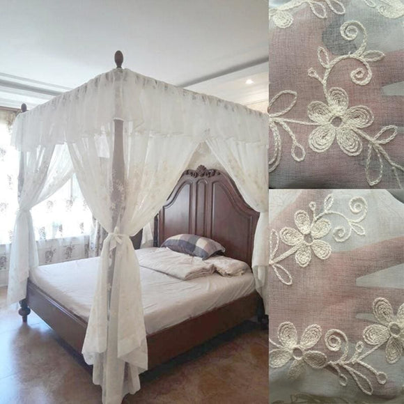 Embroidered Canopy Bed Curtain Valance