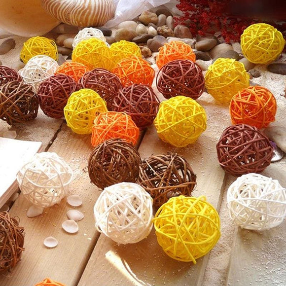 Fall Color Rattan Ball - 50 Pieces