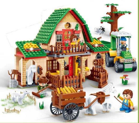 Farm Rancher Building Blocks Set