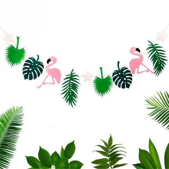 Flamingo & Tropical Leaf Garland