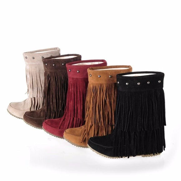 Flat Fringe Ankle Boot