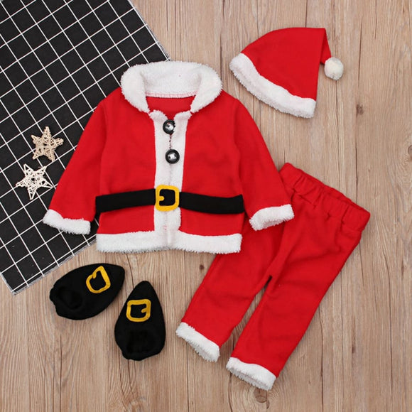 Fleece Christmas Santa Claus Toddler Suit - 4 Pieces - 3M