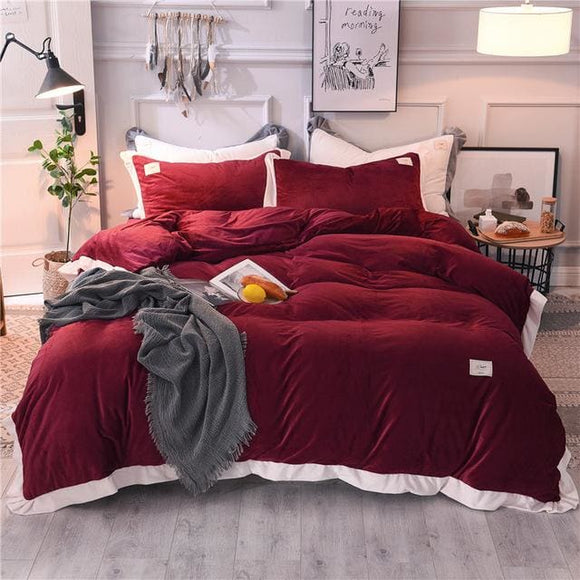 Fleece Velvet Bed Sheet and Duvet Cover Set - 3 / Queen size 4pcs