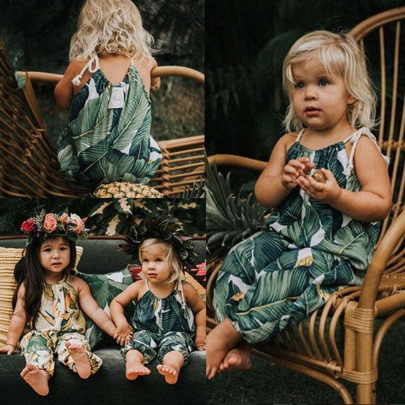 Floral Summer Toddler Romper - Green / 12M