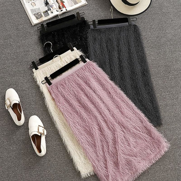 Fringed High Waist Feathers Skirt