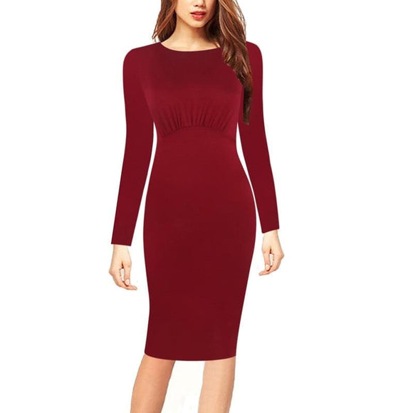 Gathered Top Office Dress - Red / S