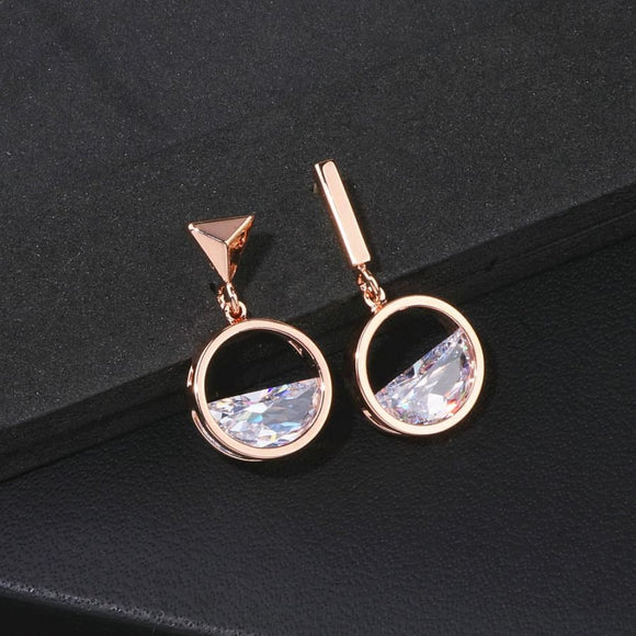 Geometric Shape Crystal Drop Earrings
