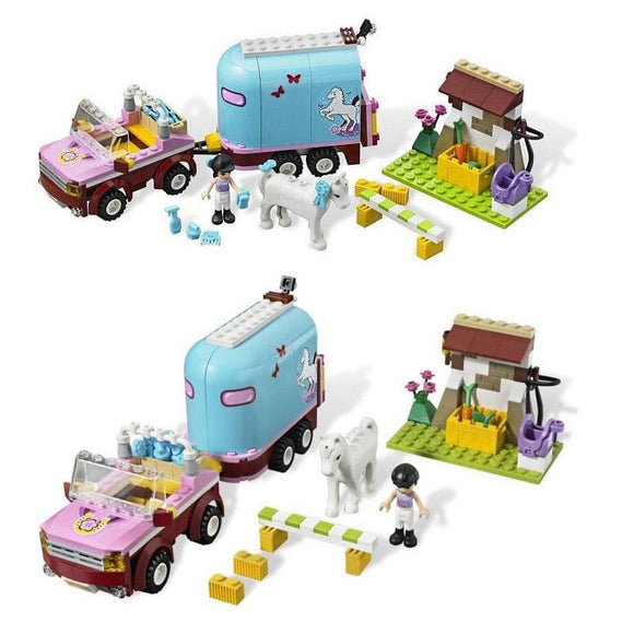 Girl and Horse Trailer Building Blocks Set