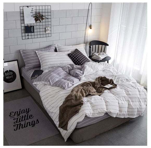 Gray & White Simple Stripe Bedding Set