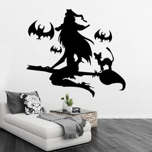 Halloween Witch Broom and Bats Wall Decal