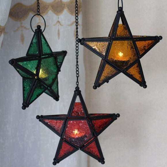 Hanging Star Glass Tea Light Candle Holder - Green