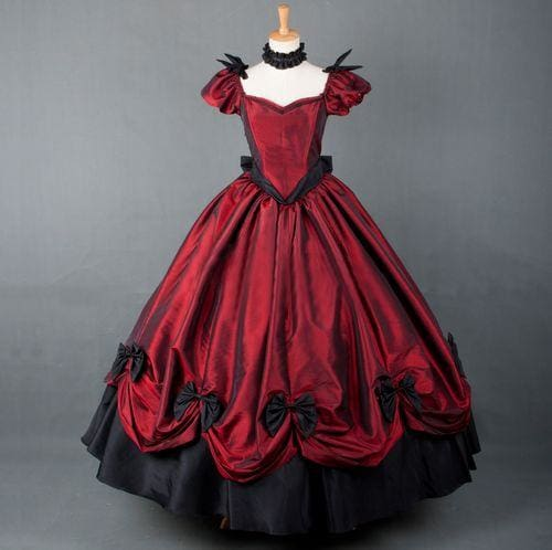 Historical Red and Black Belle Dress