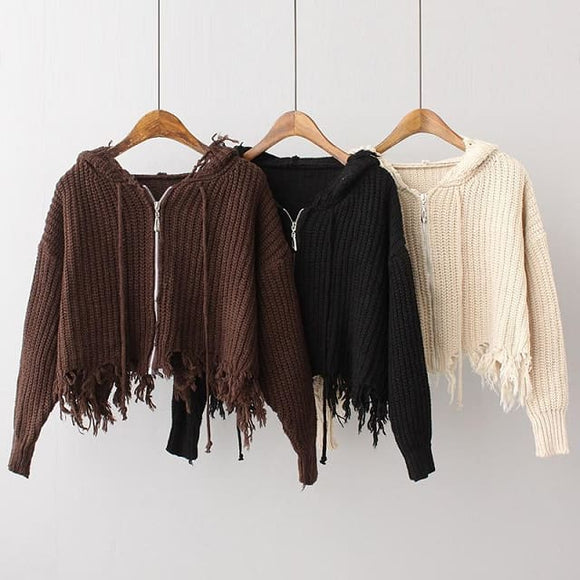 Hood Collar Cardigan Tassel Zipper Sweater