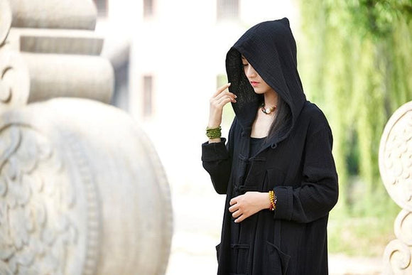 Hooded Long Coat - Gray / One Size