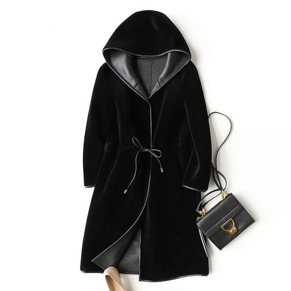 Hooded Long Lined Overcoat - Black / S