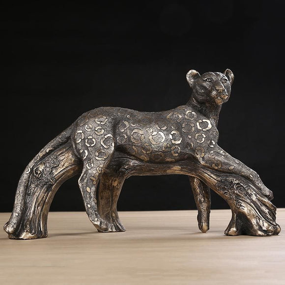 Jaguar in Forest Handmade Resin Sculpture