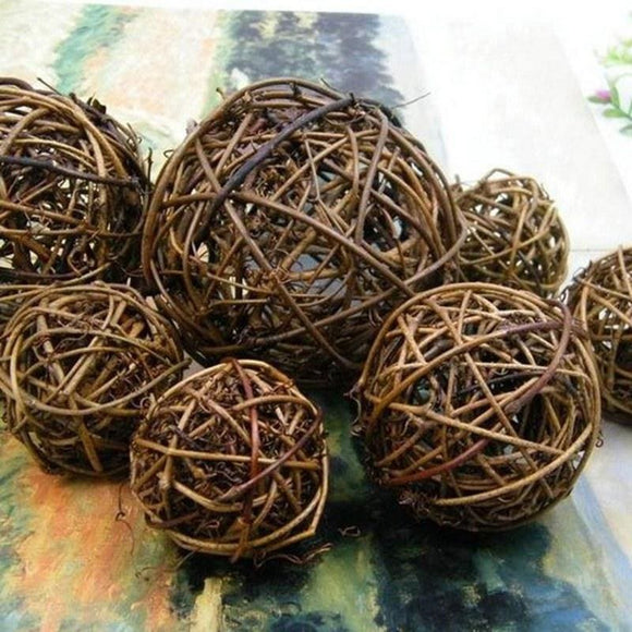 Large Woven Wicker Rattan Ball - 12 Pieces