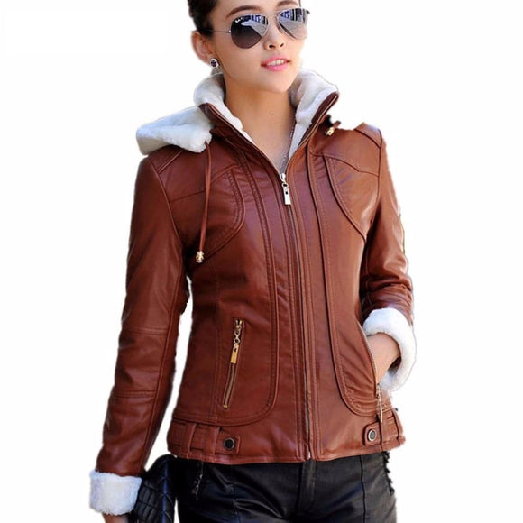 Leather Faux Hood Jacket