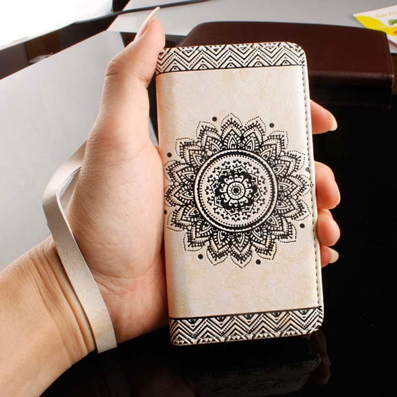 Leather Mandala Flower Flip Case