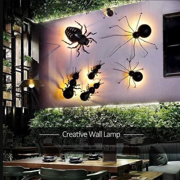 LED Black Iron Ant Spider Beetle Wall Lamp - Small Spider / 51-60W