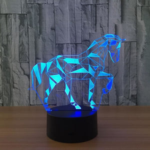 Led Geometric 3D Horse Lamp Night Light 7 Colors - Touch Switch
