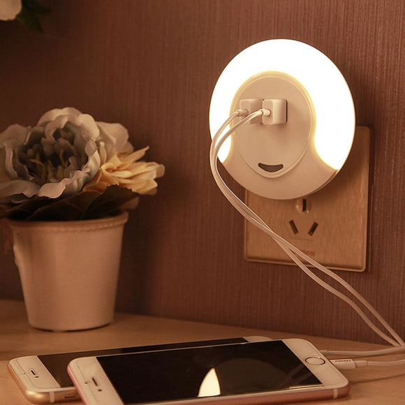Led Sensor Night Light With 2 Usb Port For Charger