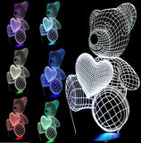 Led Teddy Bear Light - Lovely Heart Bear / Switch One 3 Color