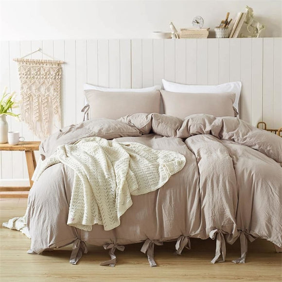 Linen Bow Tie Ribbon Duvet Set