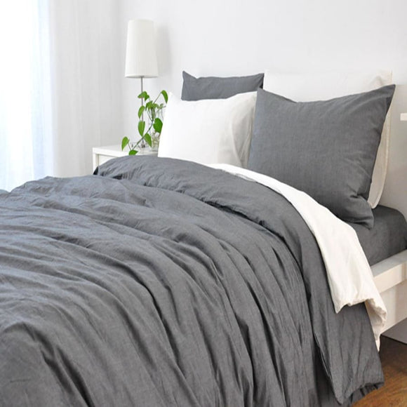 Linen Washed Duvet Cover - Natural Gray