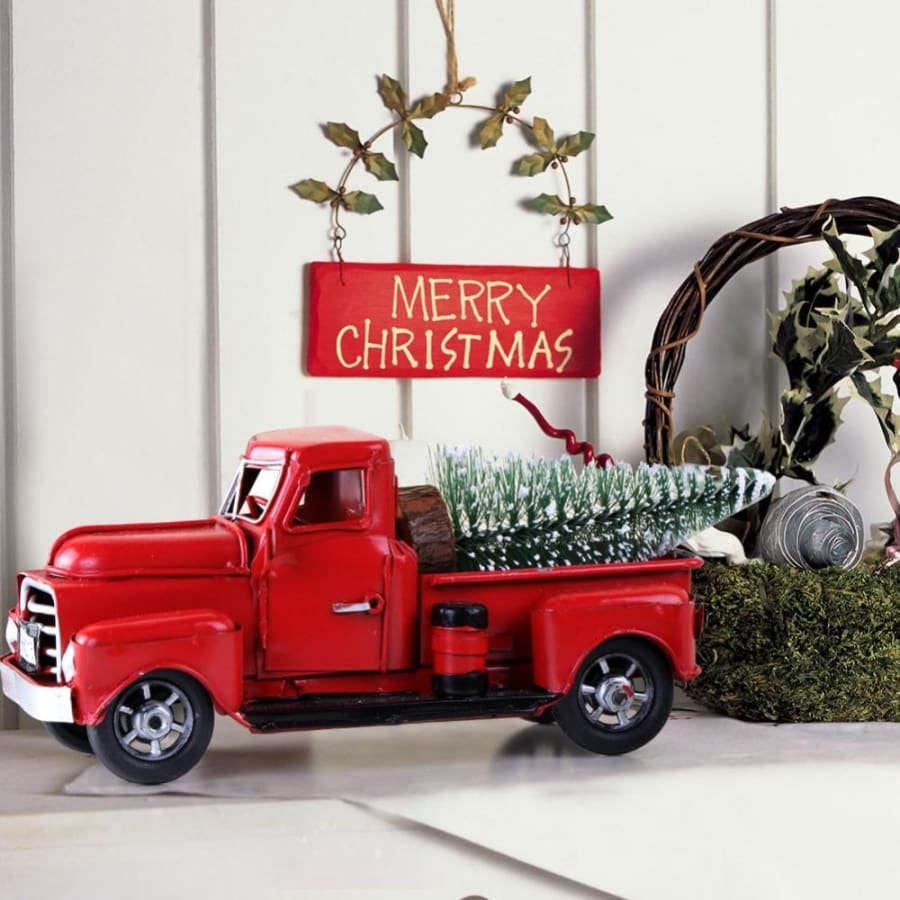 Red Christmas Truck.Little Red Christmas Truck