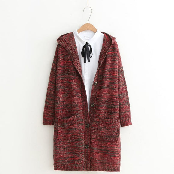 Long Multi Colored Hooded Cardigan