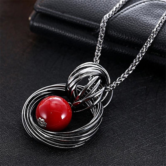 Long Necklace Chain with Red Bead Pendant - Red 117
