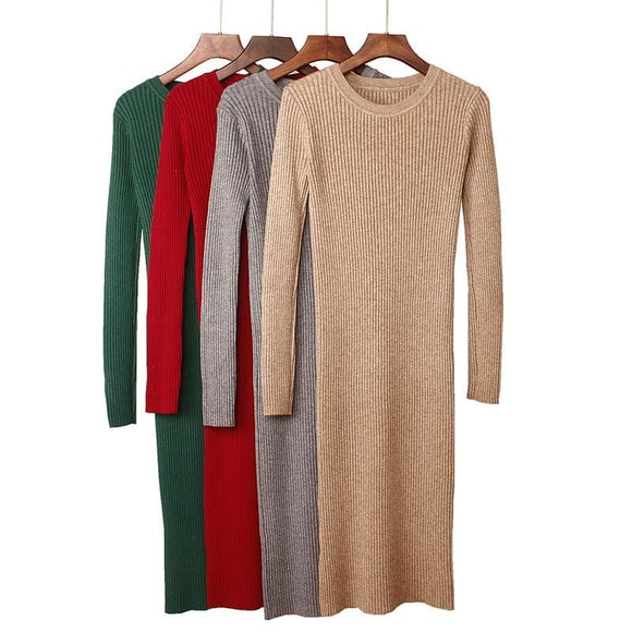 Long Sleeve Knit Casual Dress