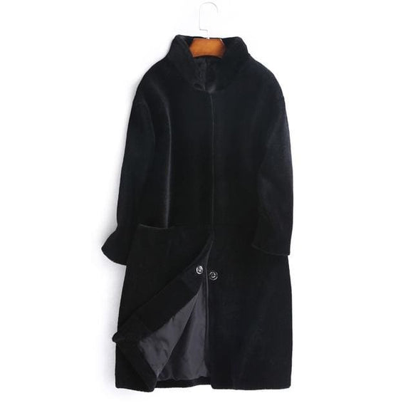 Long Wool Coat - Dark Gray / S