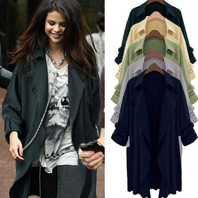 Loose Chiffon Trench Style Coat - Dark Blue / Xl